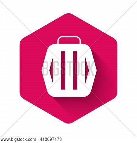 White Pet Carry Case Icon Isolated With Long Shadow Background. Carrier For Animals, Dog And Cat. Co