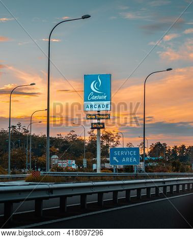 Colombo, Sri Lanka - 03 30 2021: Southern Expressway Service Area Board In Welipenna Evening Landsca