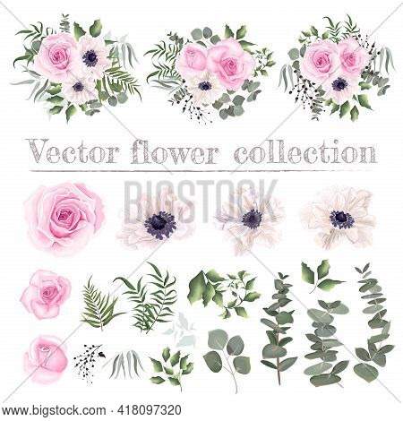 Vector Floral Set. Pink Roses, White Anemones, Berries, Eucalyptus, Green Plants And Leaves. All Ele