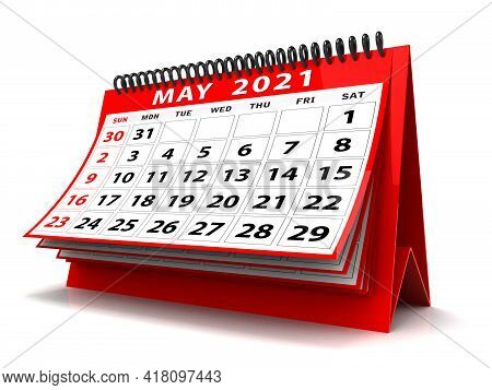3d Desktop Calendar May 2021 Isolated In White Background, May 2021 Spiral Calendar