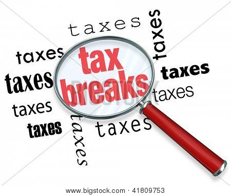 A magnifying glass hovering over the word tax breaks, symbolizing the advice and tricks that an accountant can use to increase deductions and save money when filing tax returns poster