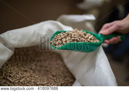 Packing Cat\'s Filler For The Toilet, Sand Or Biological Wood Pieces Absorbing The Smell For Hygiene