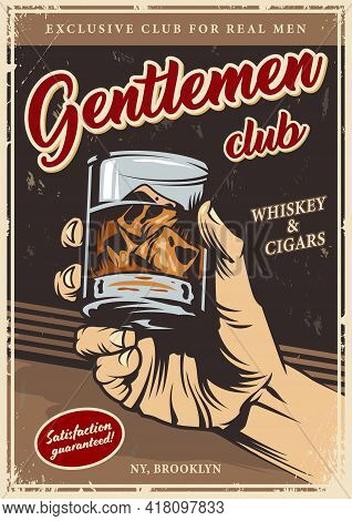 Vintage Gentlemen Club Advertising Template With Male Hand Holding Glass Of Whiskey And Ice Cubes Ve