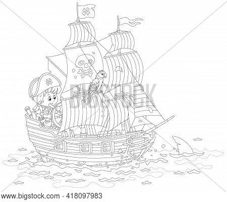 Little Boy Pirate Steering A Toy Sea Sailing Ship With Guns And A Black Flag Of Jolly Roger With Bon