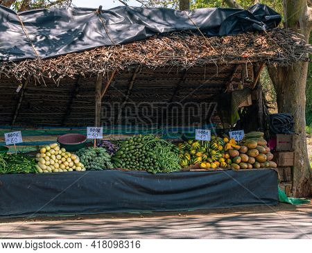 Vegetables And Fruits Market In The Streets. Selling Fresh Vegetables Cheap.