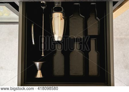 Bartender Tools In Wooden Boxes. Shaker And Tableware In The Drawer. Bartender Equipment.