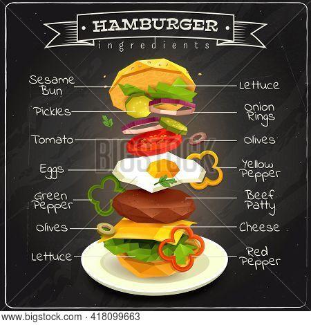 Hamburger Ingredients Including Sesame Bun, Vegetables, Eggs, Beef Patty, Lettuce, Infographics On C
