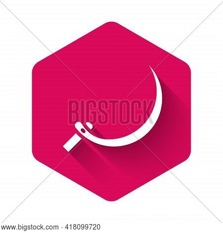 White Sickle Icon Isolated With Long Shadow Background. Reaping Hook Sign. Pink Hexagon Button. Vect