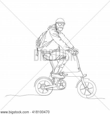 Cyclist. A Man On A Bicycle. Linear Vector Illustration. One Line. Continuous Line