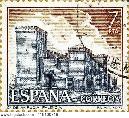 Spain - Circa 1977: A Stamp Printed By Spain Shows View Of The Castle Of Ampudia In Palencia, Circa