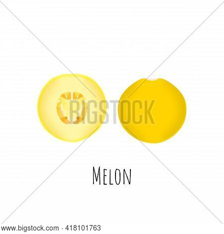Whole And Halved Melon Fruit Isolated On White Background. Vibrant Yellow Melon With Seeds. Flat Vec