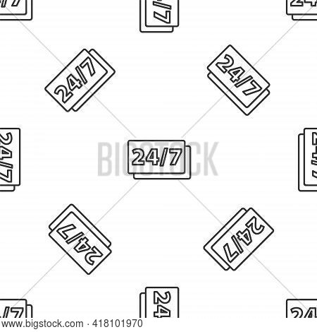 Grey Line Clock 24 Hours Icon Isolated Seamless Pattern On White Background. All Day Cyclic Icon. 24
