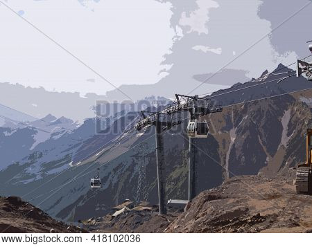Supports And Cabins Of The Gondola-type Cable Car Against The Background Of Mountains On Elbrus On A