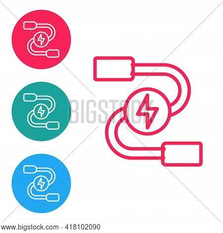 Red Line Car Battery Jumper Power Cable Icon Isolated On White Background. Set Icons In Circle Butto