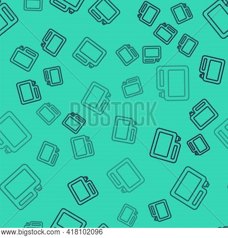 Black Line Canister For Motor Machine Oil Icon Isolated Seamless Pattern On Green Background. Oil Ga