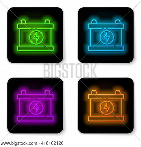 Glowing Neon Line Car Battery Icon Isolated On White Background. Accumulator Battery Energy Power An