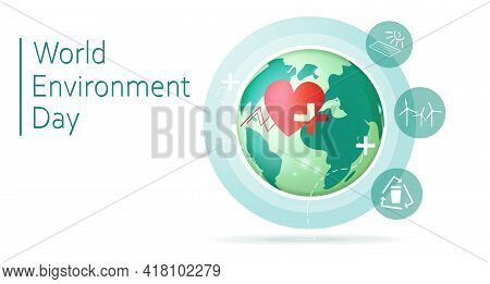 World Environment Day. Planet With Icons. Enviroment Protection. Vector Stock Illustration. White Ba