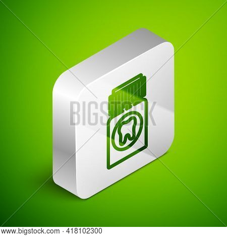 Isometric Line Toothache Painkiller Tablet Icon Isolated On Green Background. Tooth Care Medicine. C