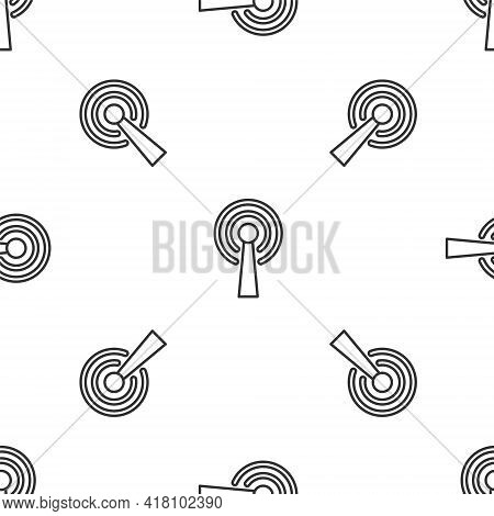Grey Line Antenna Icon Isolated Seamless Pattern On White Background. Radio Antenna Wireless. Techno