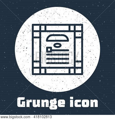 Grunge Line 26 November India Constitution Day Icon Isolated On Grey Background. Monochrome Vintage
