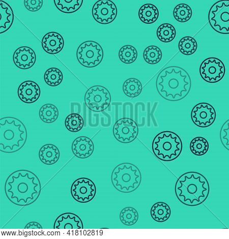 Black Line Chakra Icon Isolated Seamless Pattern On Green Background. Vector