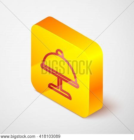Isometric Line Covered With A Tray Of Food Icon Isolated On Grey Background. Tray And Lid. Restauran