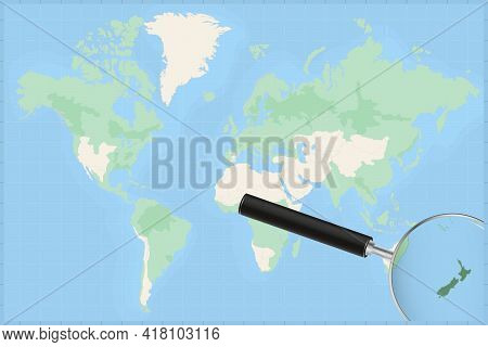 Map Of The World With A Magnifying Glass On A Map Of New Zealand Detailed Map Of New Zealand And Nei