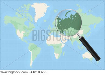 Map Of The World With A Magnifying Glass On A Map Of Russia Detailed Map Of Russia And Neighboring C