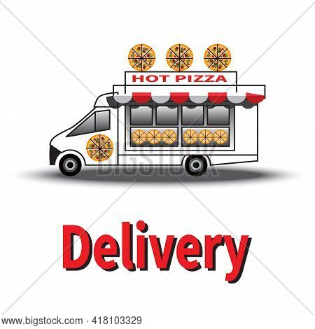 Street Food Delivery Vehicle. White Pizza Truck. Sunshade Over Shop Window. Delivery Service. Vector