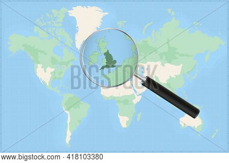 Map Of The World With A Magnifying Glass On A Map Of England Detailed Map Of England And Neighboring