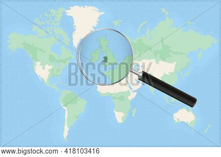 Map Of The World With A Magnifying Glass On A Map Of Wales Detailed Map Of Wales And Neighboring Cou