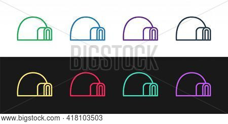 Set Line Igloo Ice House Icon Isolated On Black And White Background. Snow Home, Eskimo Dome-shaped
