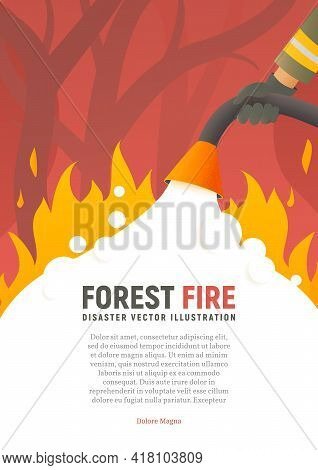 Forest Fire Vector Placard. Fire Safety Illustration. Precautions The Use Of Fire Poster Template. A