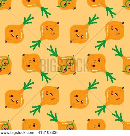 Cute Smiling Cartoon Style Onion, Onion Bulb Vegetable Characters Vector Seamless Pattern Background