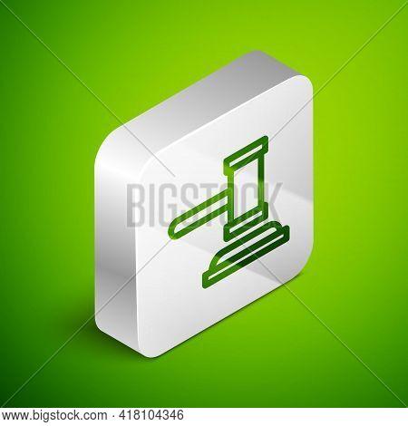 Isometric Line Judge Gavel Icon Isolated On Green Background. Gavel For Adjudication Of Sentences An