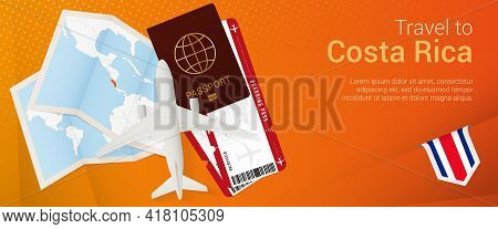 Travel To Costa Rica Pop-under Banner. Trip Banner With Passport, Tickets, Airplane, Boarding Pass,