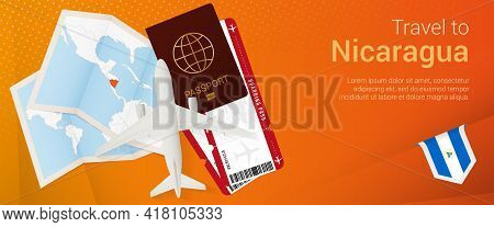 Travel To Nicaragua Pop-under Banner. Trip Banner With Passport, Tickets, Airplane, Boarding Pass, M