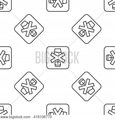 Grey Line No Alcohol Icon Isolated Seamless Pattern On White Background. Prohibiting Alcohol Beverag