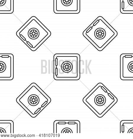 Grey Line Safe Icon Isolated Seamless Pattern On White Background. The Door Safe A Bank Vault With A