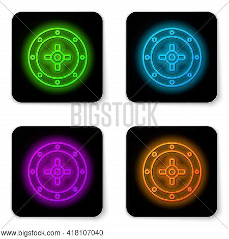 Glowing Neon Line Safe Icon Isolated On White Background. The Door Safe A Bank Vault With A Combinat