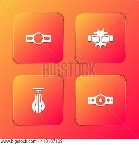 Set Boxing Belt, Punch Boxing Gloves, Punching Bag And Icon. Vector