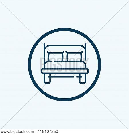 Double Bed Icon Isolated On White Background From Hotel Collection. Double Bed Icon Trendy And Moder