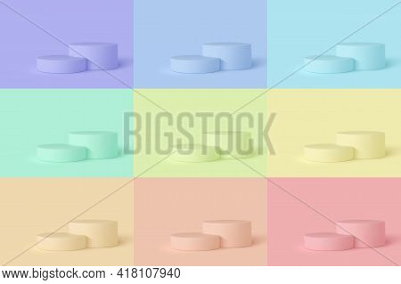 Set Of 3d Podium Scenes In Different Colors. Mockup For Product Presentation With Copy Space. Winner