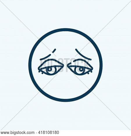 Tired Eyes Icon. Cartoon Of Tired Eyes Vector Icon For Web Design Isolated On White Background