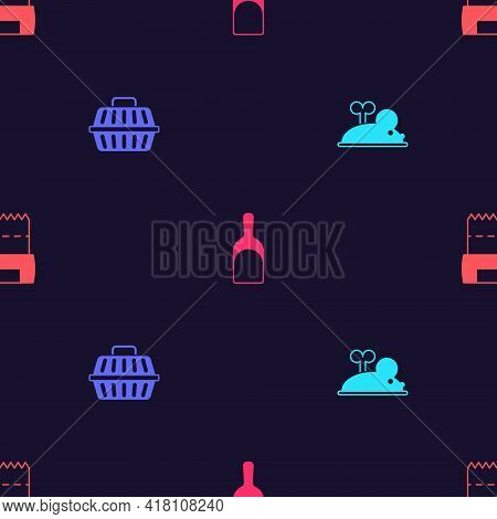 Set Clockwork Mouse, Pet Carry Case, Dustpan And Dog Shit In Bag On Seamless Pattern. Vector