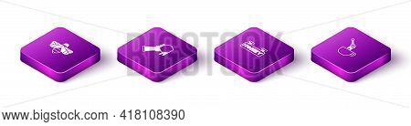 Set Isometric Bee, Honeycomb And Hand, Hanging Sign With Honeycomb And Dipper Stick Icon. Vector