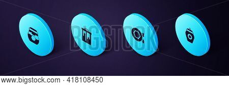 Set Isometric Jar Of Honey, Hanging Sign With Honeycomb, Honeycomb And Icon. Vector