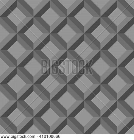 Seamless Abstract Pattern Background. 3d Gray Diamond-shaped Squares. Textured Design For Fabric, Ti