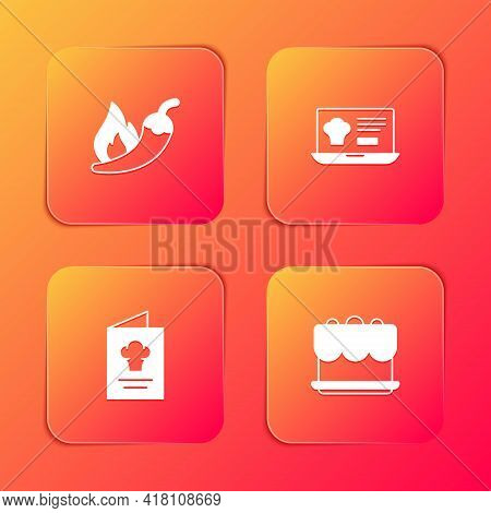 Set Hot Chili Pepper Pod, Online Ordering And Delivery, Cookbook And Cake Icon. Vector