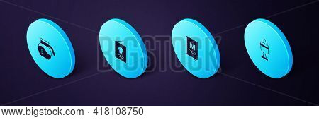 Set Isometric Ice Cream In Bowl, Restaurant Cafe Menu, Cookbook And Coffee Pot Icon. Vector
